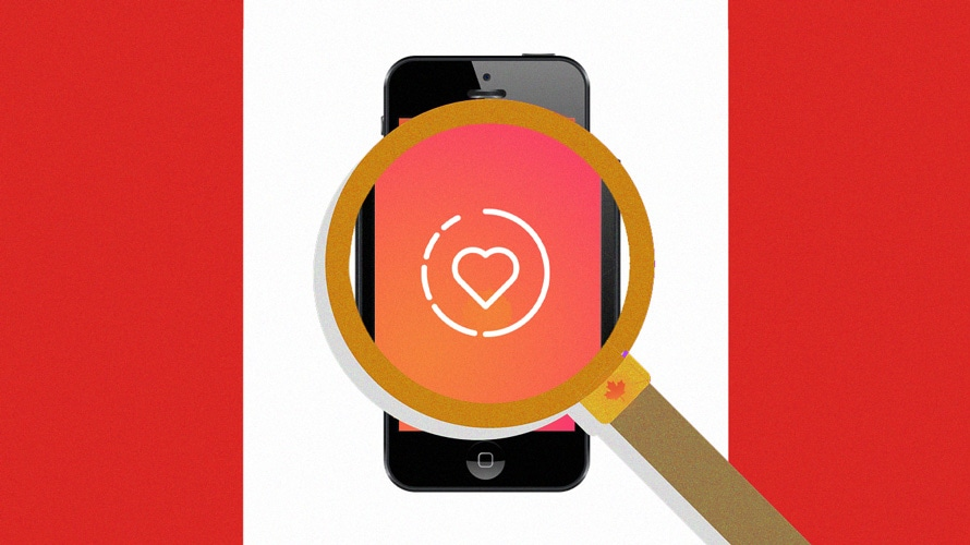 Magnifying glass over a phone screen showing instagram likes on a Canada flag background