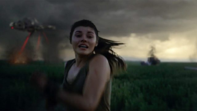 A person runs from an alien invasion in this Jif commercial.