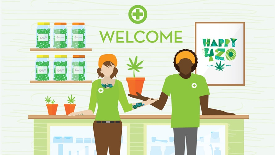 Illustration of two workers welcoming people in a cannabis store