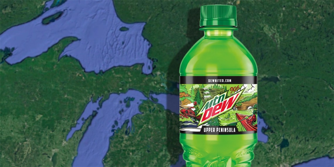 mountain dew bottle for the upper peninsula of michigan over the map of wisconsin, michigan and the great lakes