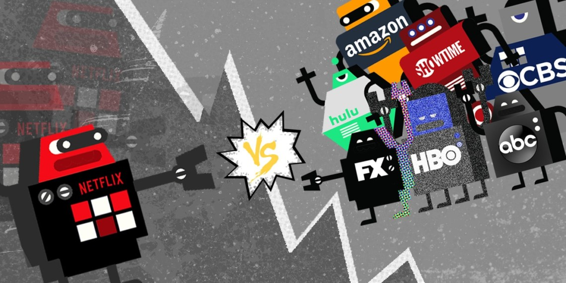 Netflix robot against hulu, amazon, showtime, cbs, fx, hbo, and abc robots
