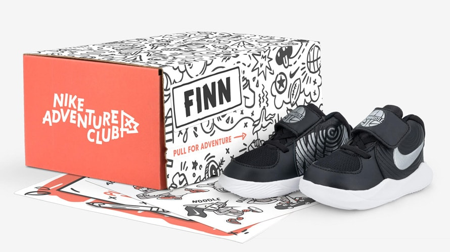 An Adventure Club box and shoes from Nike's subscription package for kids