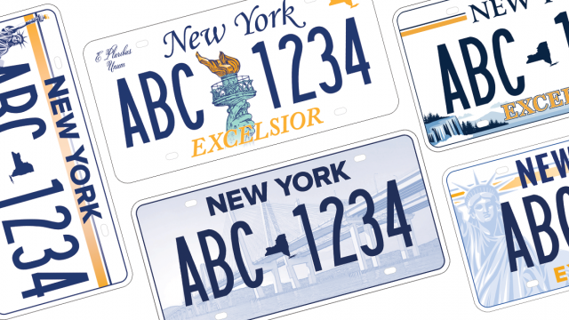 collage of the five new york state license plate design options