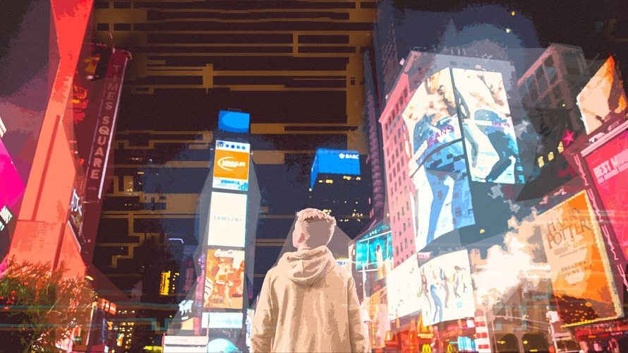 Person looking up at OOH advertising in the city