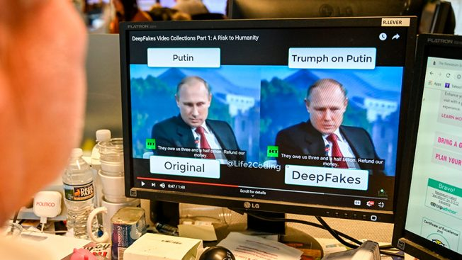 Two photos of Putin, one that's real and one that's fake.