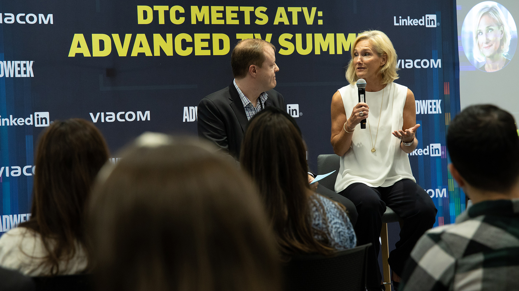 Jason Lynch, TV and media editor, Adweek, speaks with Karen Phillips, evp, ad solutions, Viacom.