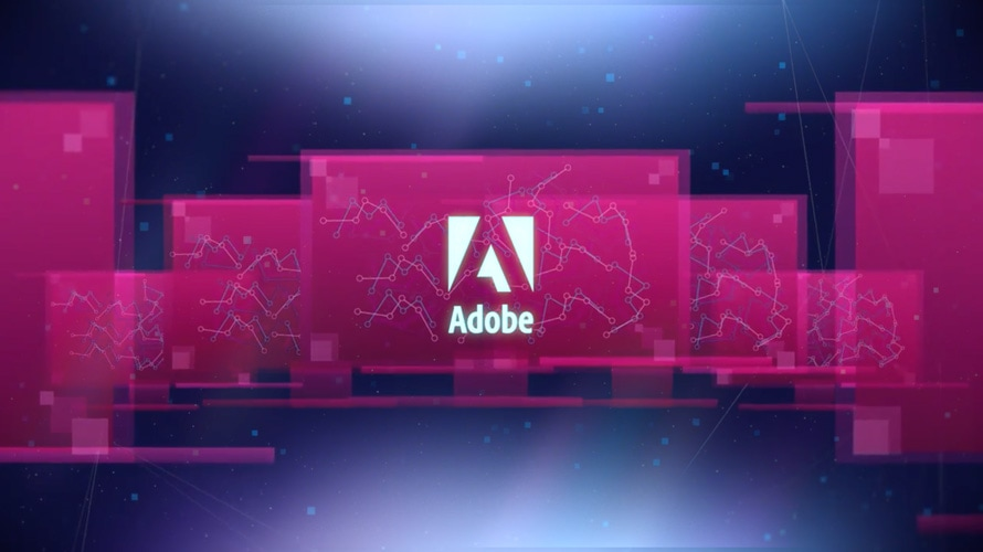 Adobe logo, computer screens, line graphs