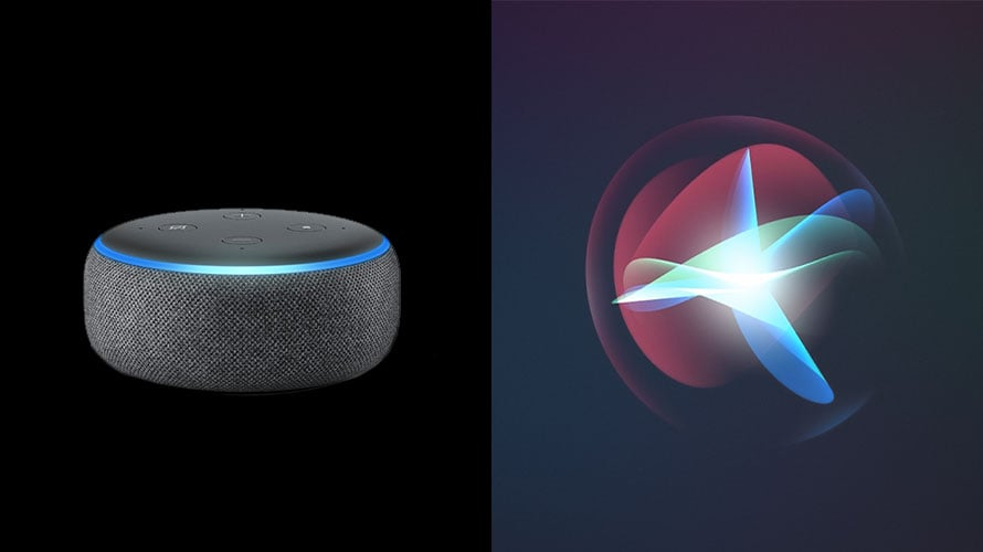 Alexa and Siri products next to one another
