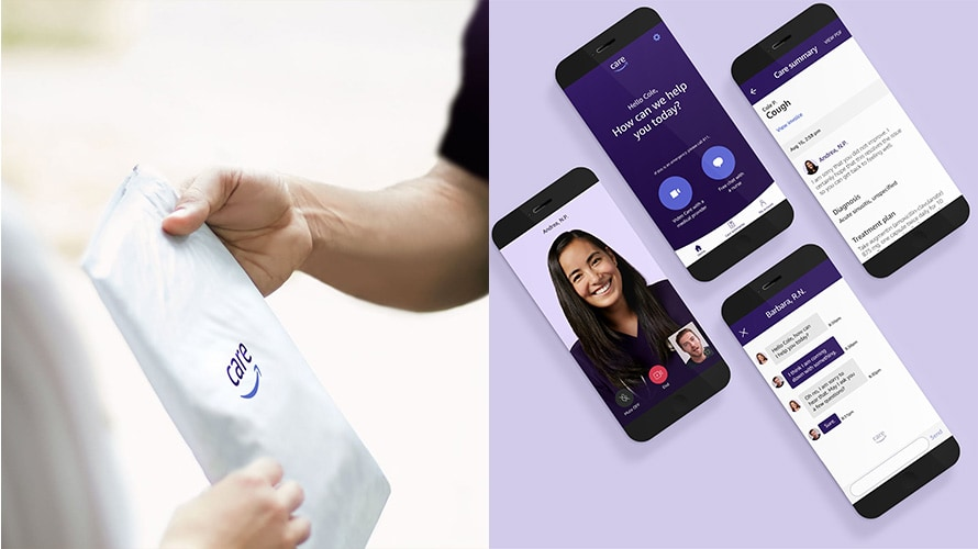 images of an Amazon Care package and services from Amazon Care displayed on smartphones