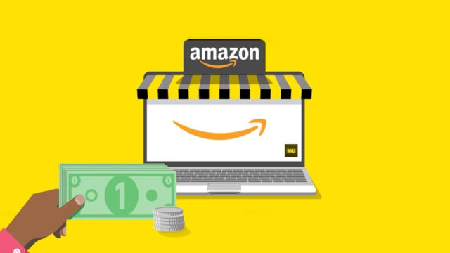 An illustration showing a hand with money reaching toward a laptop with the Amazon logo