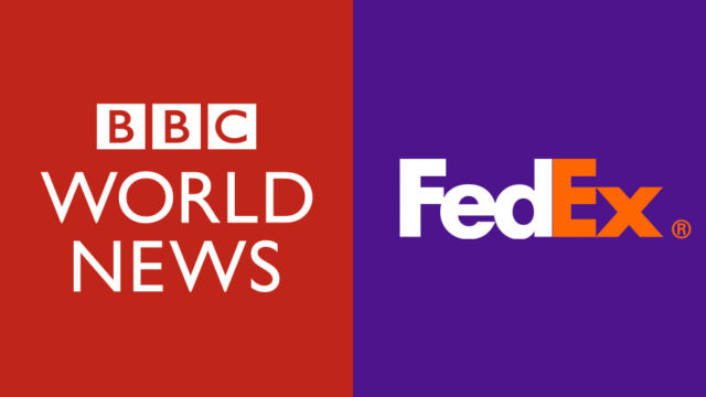 The BBC World News logo and the FedEx logo side by side