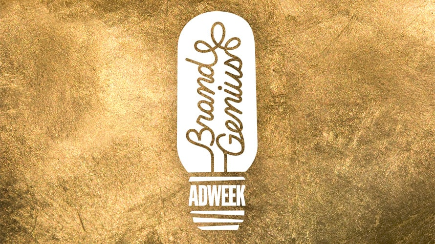 a lightbulb that says brand genius in script and adweek in the base