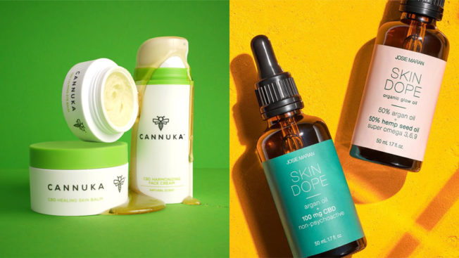 Side-by-side photos of Cannuka and Josie Maran CBD products