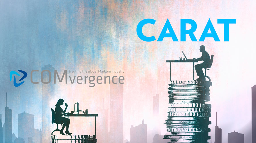 """illustration of a person sitting at a desk atop a large stack of coins with """"Carat"""" written above it; another person sits at a desk across the way with a smaller stack of coins below it with """"COMvergence"""" written above"""