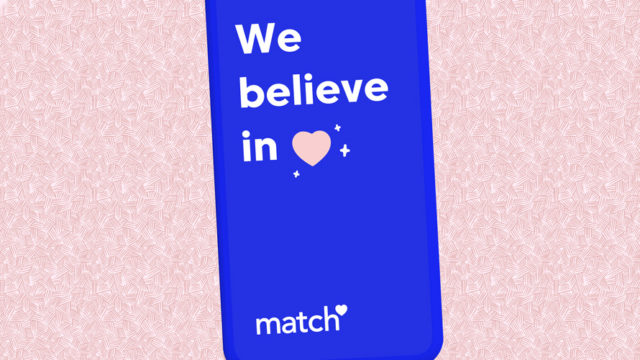"""A Match.com ad that says """"We believe in (heart symbol)"""""""