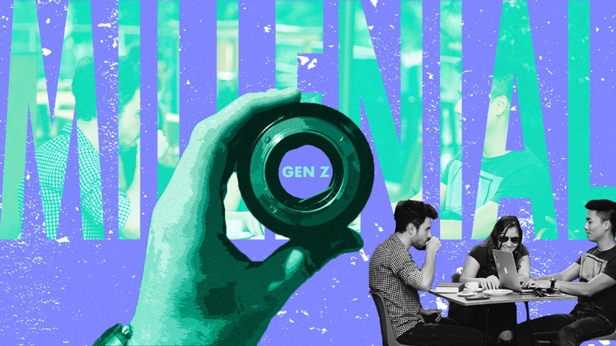 """Hand holding lens focused on the word """"Gen Z"""" within the word """"millennial"""""""