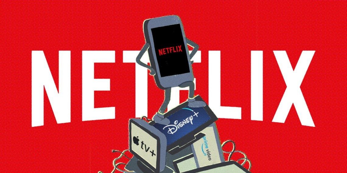 Illustrations of streaming services on devices in front of Netflix logo