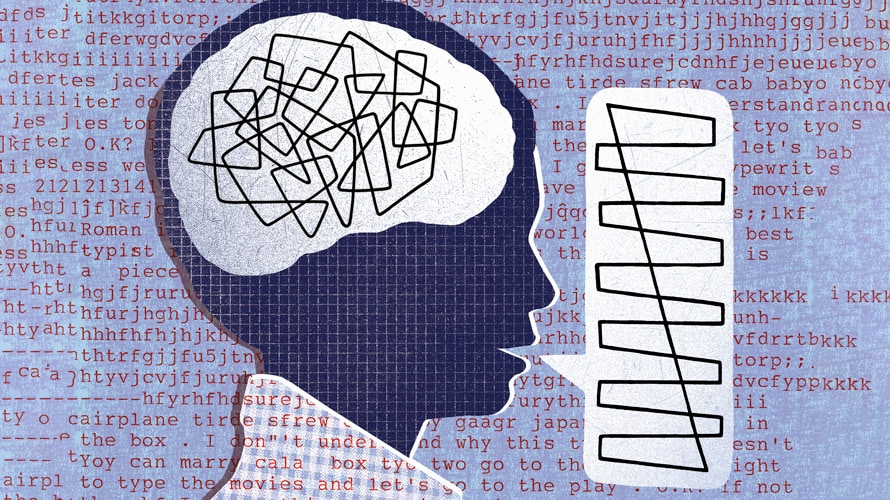 An illustration of a person talking with scribbles in their head.