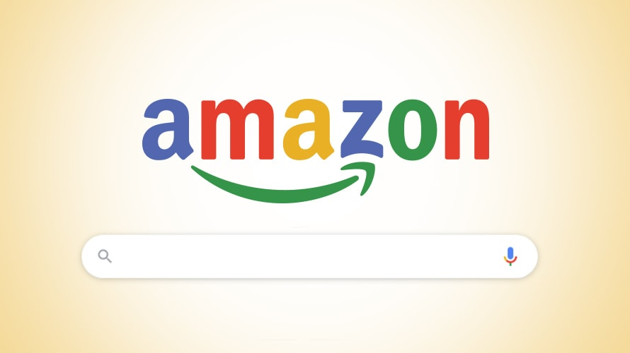 the google homepage but with an amazon logo over the search bar