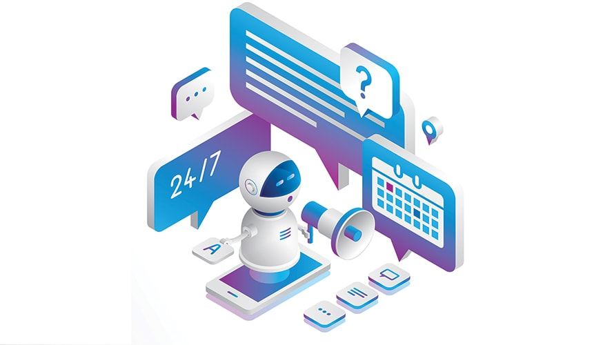 a small robot surrounded by boxes of text and calendars