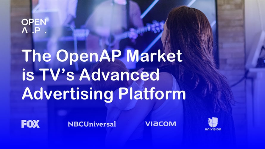 "Photo of a woman holding a baby watching TV with text that says, ""The OpenAP Market is TV's Advanced Advertising Platform."""
