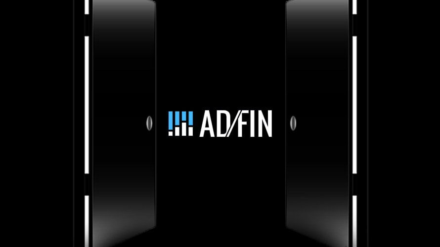 A black background with white on the sides with the Afdin logo in the middle