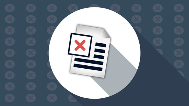 Document icon with a red X on it