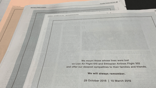 Full-page Boeing ads in notable newspapers