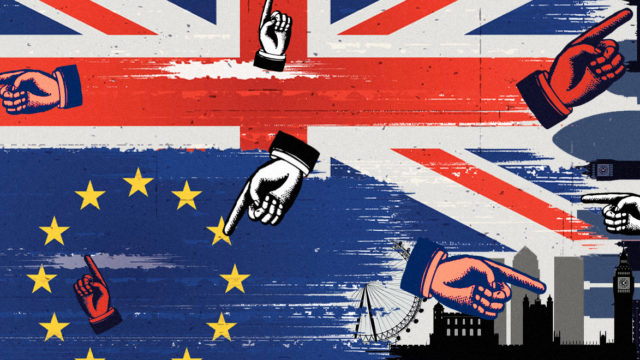 a collage of a Union Jack flag, EU flag, london skyline, and hands pointing in different directions