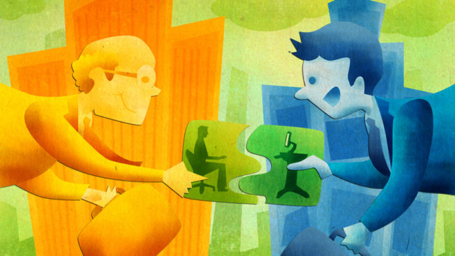 Illustration shows people putting puzzle pieces together.