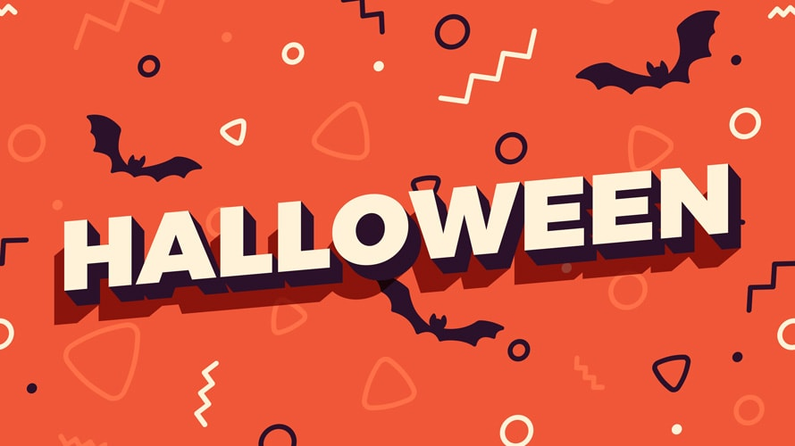 Halloween text on orange background with shapes and bat silhouettes