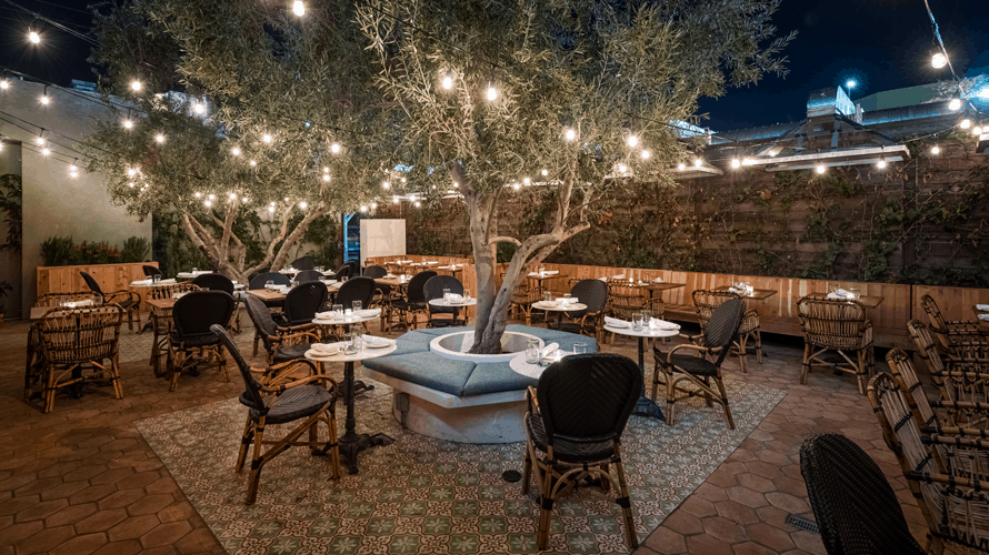 the backyard of a restaurant with lights in trees and tables and chairs