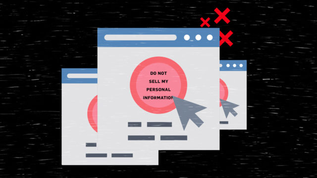 """illustration of an arrow clicking on """"do not sell my personal information"""" button"""