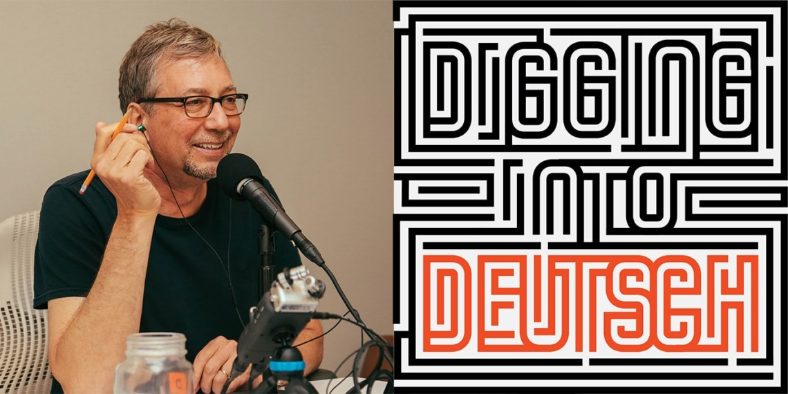 Side by side image of Matthew George and Digging into Deutsch logo