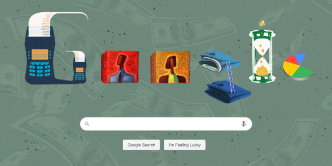 A Google search page with Google spelled out in images