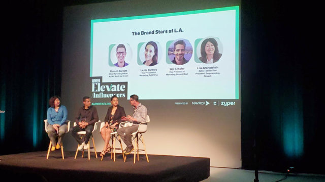 Adweek's Lisa Granastein on stage with Will Schafer, Leslie Burthey and Russell Barnett
