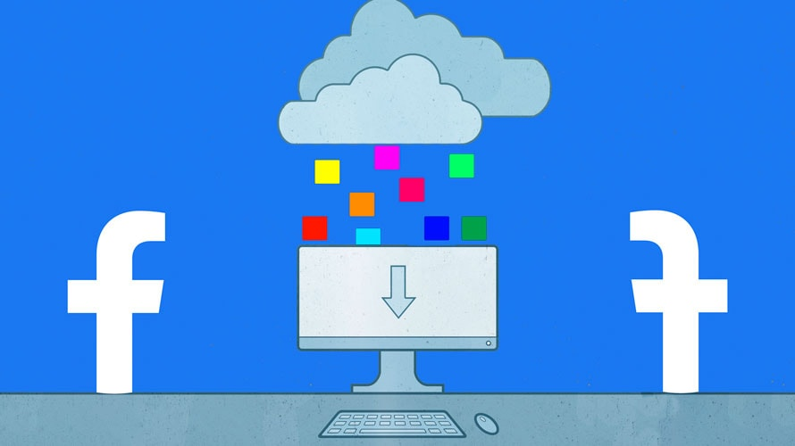Dark clouds and digital rain over a computer screen with a download icon