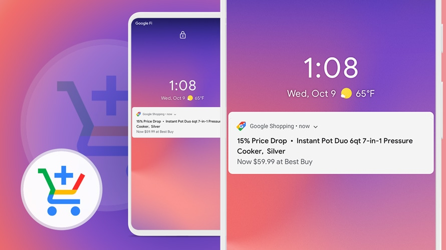 Two close ups of a Google Shopping notification on a smartphone with the Google Shopping logo behind it