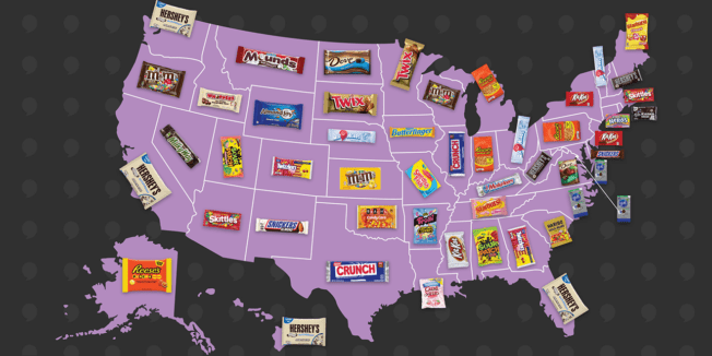 map of the united states with photos of candy packages on each state