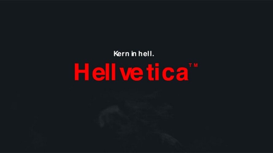 The poorly spaced Hellvetica font is shown with the words