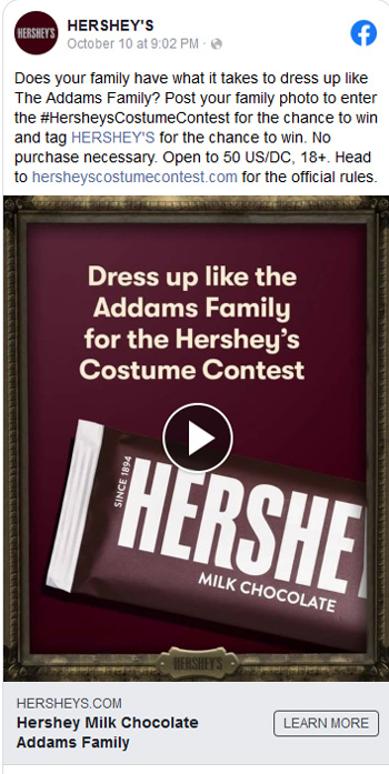 a screenshot of hershey's social ad