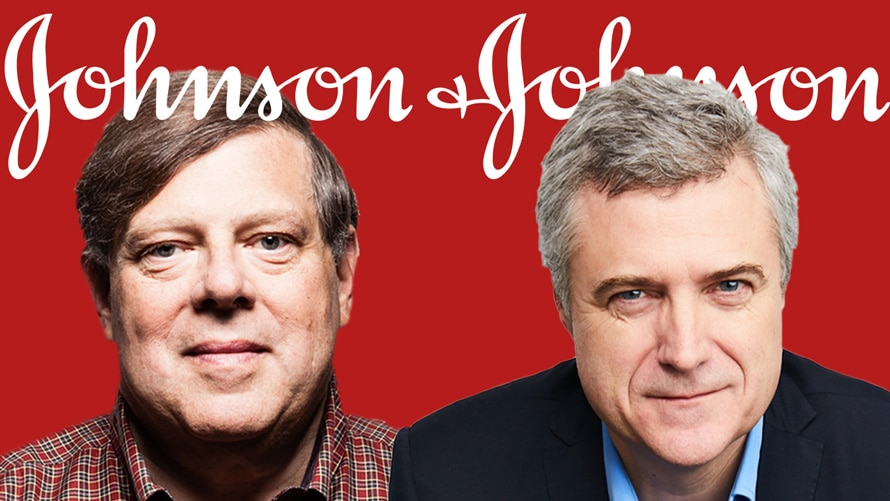 Headshot of Mark Penn and Mark Read on a red background with johnson and johnson logo