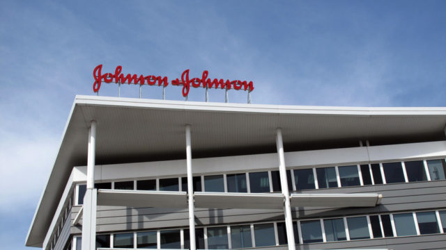 The Johnson & Johnson sign on top of a building