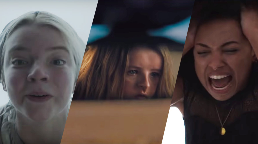 Side by side stills from movies, The Witch, Hereditary, and The Perfection