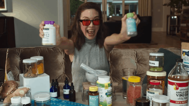 an ad for nutribullet blender featuring a fake influencer touting complicated health routines