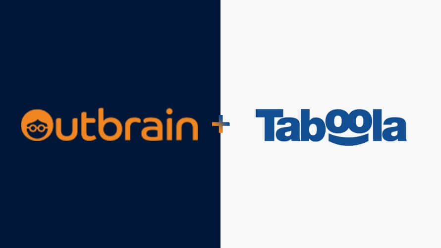 side-by-side of Outbrain + Taboola logos