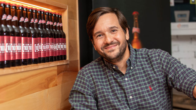 pedro earp next to a line of AB InBev products