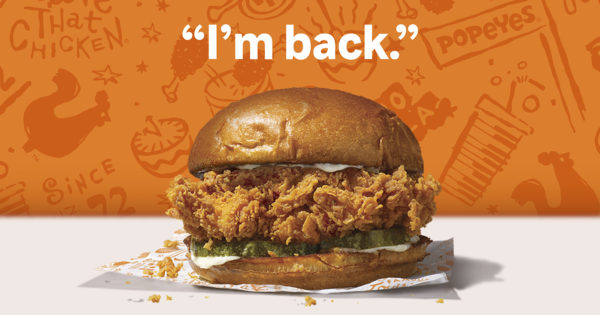 Popeyes' Chicken Sandwich Will Return This Sunday (While Chick-fil-A Is Closed)