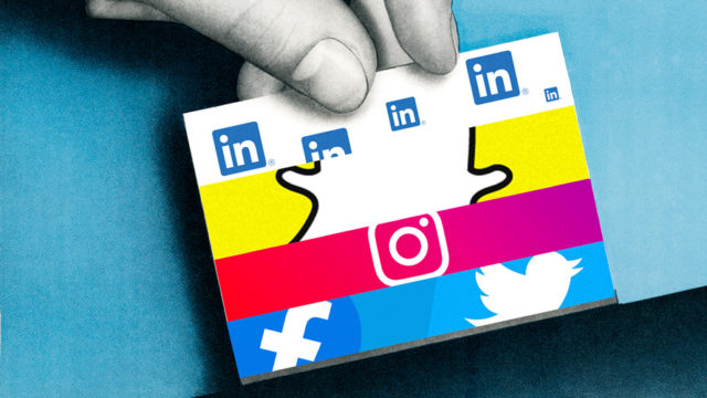 linkedin, snapchat, instagram, facebook and twitter icons on a small box with a hand holding it