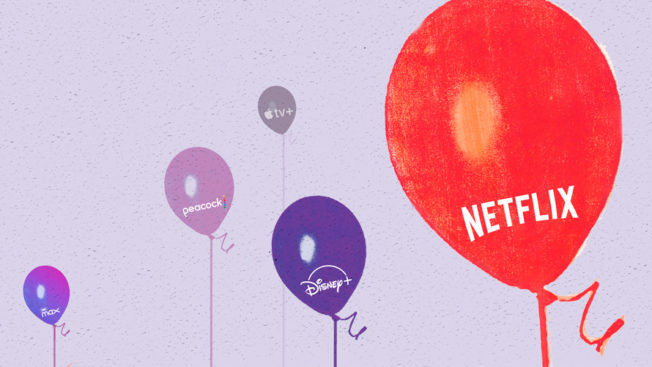 Five balloons with Netflix, Peacock, HBO Max, Disney+ and Apple tv+ logos